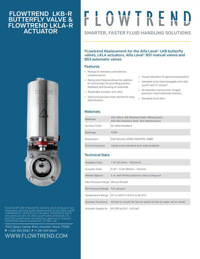 Product Sheets, Flowtrend LKB-R Butterfly and Flowtrend LKLA-R Actuator