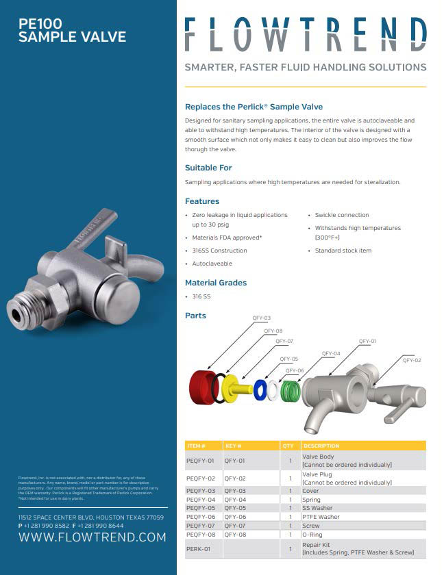 Product Sheets, PE 100 Sample Valve